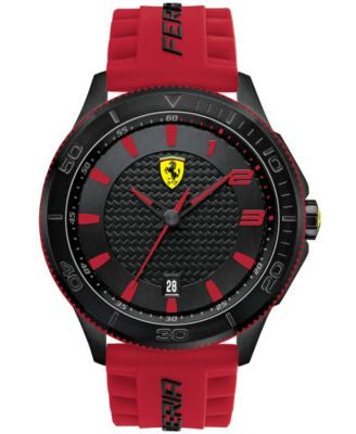 Scuderia Ferrari Men's Scuderia Red Silicone Strap Watch 48mm 830136