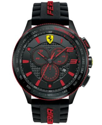 Scuderia Ferrari Men's Chronograph Scuderia Black Silicone Strap Watch 48mm 830138