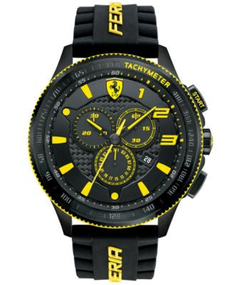 Scuderia Ferrari Men's Chronograph Scuderia Black Silicone Strap Watch 48mm 830139