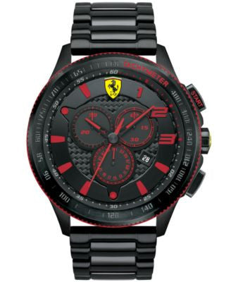 Scuderia Ferrari Men's Chronograph Scuderia Black Ion-Plated Steel Bracelet Watch 48mm 830142