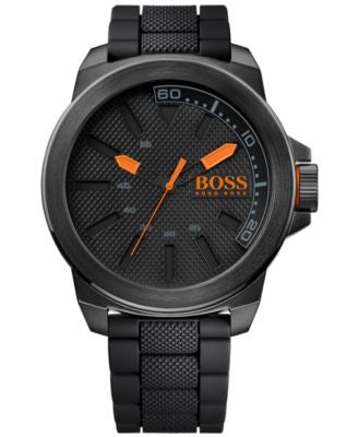 BOSS Orange Men's Black Silicone Strap Watch 50mm 1513004