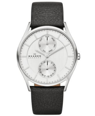 Skagen Men's Black Leather Strap Watch 40mm SKW6065