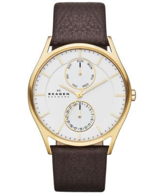 Skagen Men's Dark Brown Leather Strap Watch 40mm SKW6066