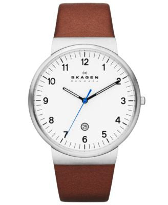 Skagen Men's Brown Leather Strap Watch 40mm SKW6082