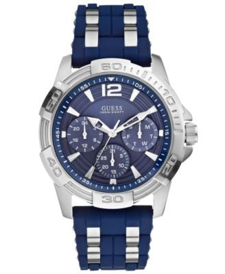 GUESS Men's Chronograph Blue Silicone and Silver-Tone Bracelet Watch 43mm U0366G2