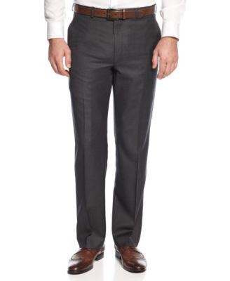 Lauren Ralph Lauren Solid Charcoal Big and Tall Classic-Fit Dress Pants