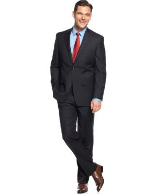 Greg Norman for Tasso Elba Navy Herringbone Suit Separates