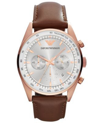 Emporio Armani Men's Chronograph Brown Leather Strap Watch 43mm AR5995
