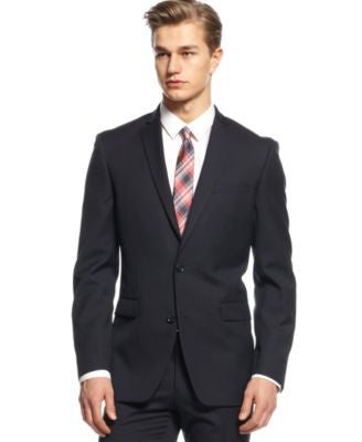 Bar III Navy Tonal Check Slim-Fit Jacket