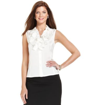 Tahari ASL Sleeveless Ruffled Blouse