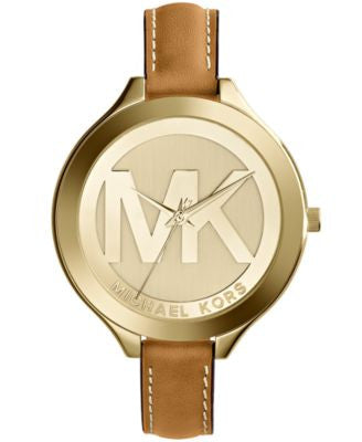 Michael Kors Women's Slim Runway Luggage Leather Strap Watch 42mm MK2326