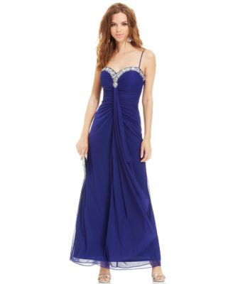Onyx Sleeveless Jewel-Trim Ruched Gown