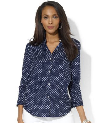 Lauren Ralph Lauren Petite Three-Quarter-Sleeve Polka-Dot Shirt