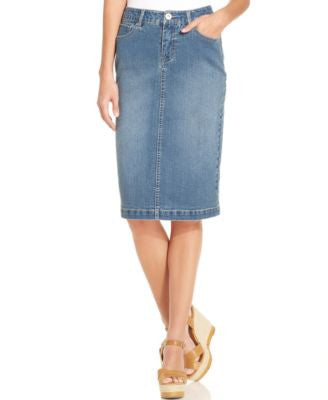 Style & Co. Tummy-Control Sea Glass Denim Skirt, Only at Vogily