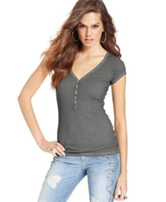 GUESS V-Neck Ribbed-Knit Top