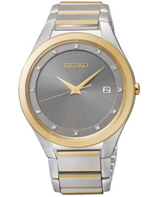 Seiko Men's Solar Diamond Accent Two-Tone Stainless Steel Bracelet Watch 39mm SNE344 - Only at Vogil
