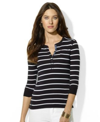 Lauren Ralph Lauren Long-Sleeve Striped Henley