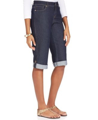 Style & Co. Tummy-Control Denim Bermuda Shorts, Rinse Wash, Only at Vogily