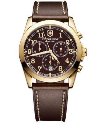 Victorinox Swiss Army Men's Chronograph Brown Leather Strap Watch 40mm 241647