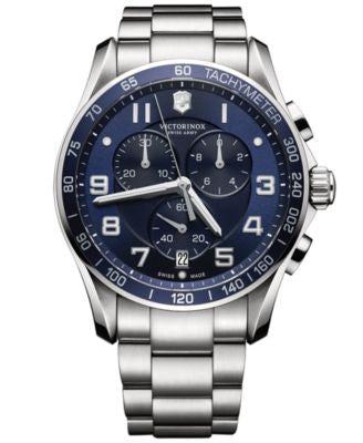 Victorinox Swiss Army Men's Chronograph Classic XLS Stainless Steel Bracelet Watch 45mm 241652
