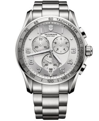 Victorinox Swiss Army Men's Chronograph Classic XLS Stainless Steel Bracelet Watch 45mm 241654