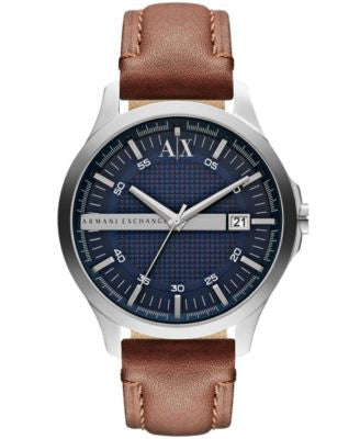 A|X Armani Exchange Men's Brown Leather Strap Watch 46mm AX2133