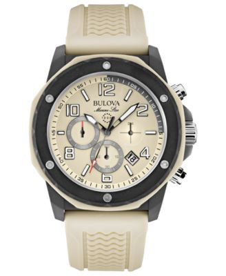 Bulova Men's Chronograph Marine Star Sand Silicone Strap Watch 44mm 98B201