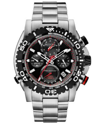 Bulova Men's Chronograph Precisionist Stainless Steel Bracelet Watch 48mm 98B212