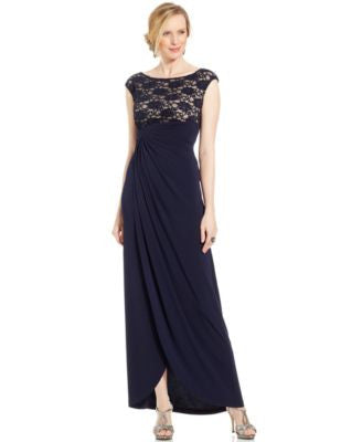 Connected Petite Sequin Lace Faux-Wrap Gown