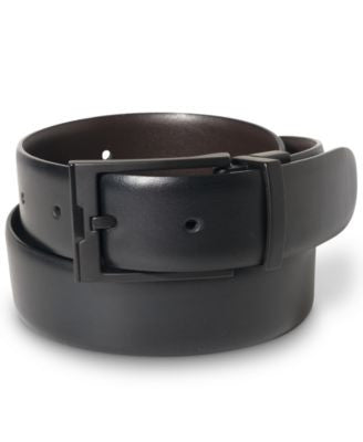 Perry Ellis Men's Big & Tall Matte Black Buckle Leather Belt