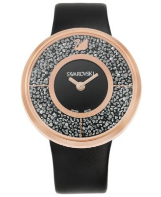 Swarovski Women's Swiss Crystalline Black Calfskin Leather Strap Watch 40mm
