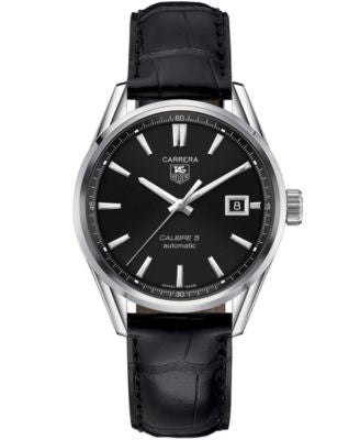 TAG Heuer Men's Swiss Automatic Carrera Calibre 5 Black Leather Strap Watch 39mm WAR211A.FC6180