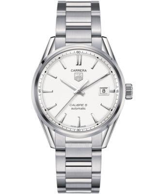 TAG Heuer Men's Swiss Automatic Carrera Calibre 5 Stainless Steel Bracelet Watch 39mm WAR211B.BA0782