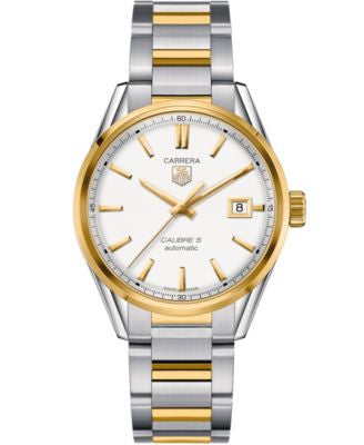 TAG Heuer Men's Swiss Automatic Carrera Calibre 5 Two-Tone Stainless Steel Bracelet Watch 39mm WAR21