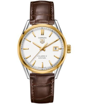 TAG Heuer Men's Swiss Automatic Carrera Calibre 5 Brown Leather Strap Watch 39mm WAR215B.FC6181