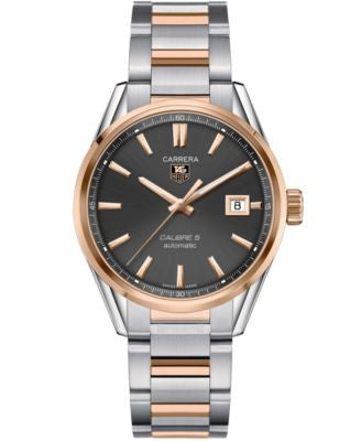 TAG Heuer Men's Swiss Automatic Carrera Calibre 5 18k Rose Gold and Stainless Steel Bracelet Watch 3