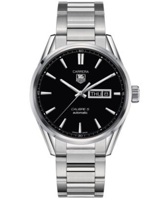 TAG Heuer Men's Swiss Automatic Carrera Calibre 5 Day-Date Stainless Steel Bracelet Watch 41mm WAR20