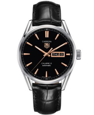 TAG Heuer Men's Swiss Automatic Carrera Calibre 5 Day-Date Black Leather Strap Watch 41mm WAR201C.FC