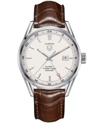 TAG Heuer Men's Swiss Automatic Carrera Calibre 7 Twin-Time Brown Leather Strap Watch 41mm WAR2011.F