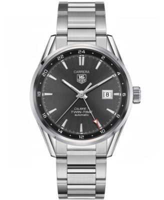 TAG Heuer Men's Swiss Automatic Carrera Calibre 7 Twin-Time Stainless Steel Bracelet Watch 41mm WAR2