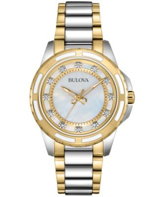 Bulova Women's Diamond Accent Two-Tone Stainless Steel Bracelet Watch 32mm 98P140