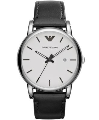 Emporio Armani Men's Black Leather Strap Watch 41mm AR1694