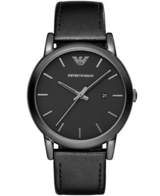 Emporio Armani Men's Black Leather Strap Watch 41mm AR1732