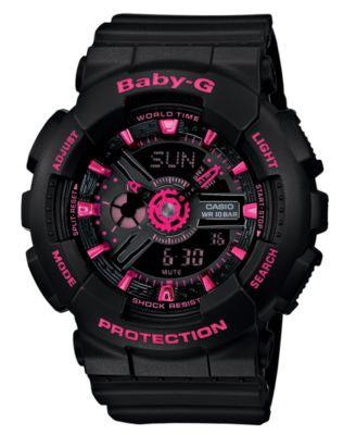 Baby-G Women's Analog-Digital Black Resin Strap Watch 46x43mm BA111-1A