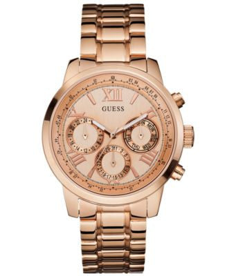 GUESS Women's Rose Gold-Tone Stainless Steel Bracelet Watch 42mm U0330L2
