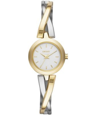 DKNY Women's Crosswalk Two-Tone Stainless Steel Half-Bangle Bracelet Watch 20mm NY2171