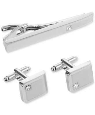 Geoffrey Beene Crystal Detail Cufflinks and Tie Clip Gift Set