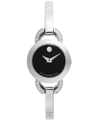 Movado Women's Swiss Rondiro Mini Diamond Accent Stainless Steel Bangle Bracelet Watch 22mm 0606798