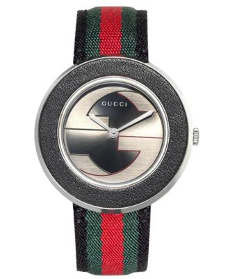 Gucci Women's Swiss U-Play Red, Green and Black Nylon Strap Watch 35mm YA129444