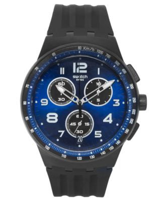 Swatch Unisex Swiss Chronograph Nitespeed Black Silicone Strap Watch 42mm SUSB402